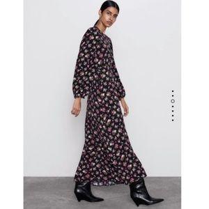 Black floral long midi dress
